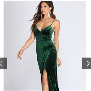 Long Green Velvet Formal Dress [worn once]